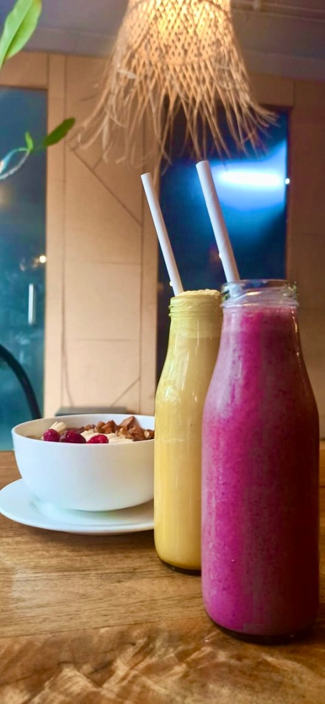 Berry Smoothie and Iced Turmeric Latte