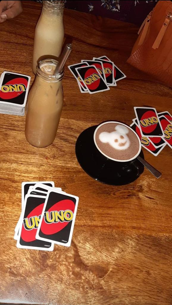Iced Latte Hot Chocolate and Uno Cards